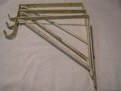 "3 Vintage Heavy Duty Shelf & Rod Brackets Closet Storage Shelf Holds 1-1/2"" Rod"