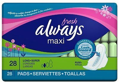 Always Fresh Maxi Long Super With Flexi-wings, 28 ct (6 PACK)
