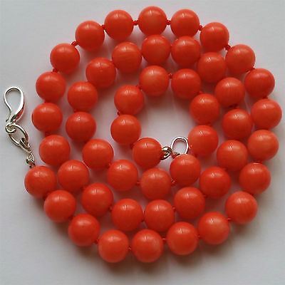 """925 Silver Salmon Coral Necklace, 19 1/2"""" Long"""
