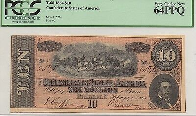 1864 Confederate States Of America $10 Note, T-68, Pcgs Very Choice New 64 Ppq