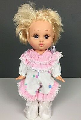"""1990 Galoob Baby Face Doll So Loving Laura #4 Blonde Hair Pink White Clothes 13"""""""