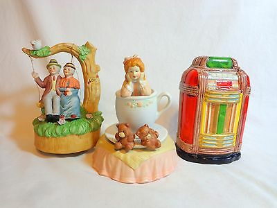 Vintage MUSIC BOX LOT of 3 Jukebox Swing Tea Cup FOR PARTS OR REPAIR