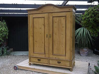 Wow! Large/wide (Like A Triple!) Old Antique Victorian Knock Down Pine Wardrobe