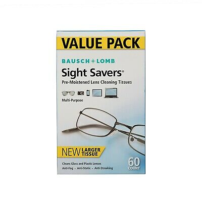 Bausch and Lomb Sight Savers Optical Cleaning Cloths - 60 Count (3 Pack)