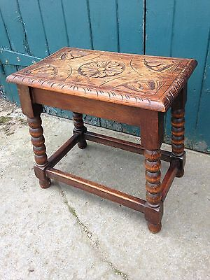 Antique Pegged Stool with Carved Top and Bobbin Legs