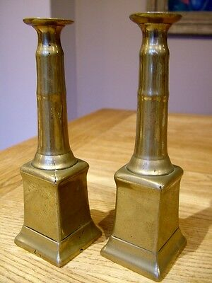 Very Unusual Georgian Antique Seamed Brass Candlesticks Torcheres C1800 Square