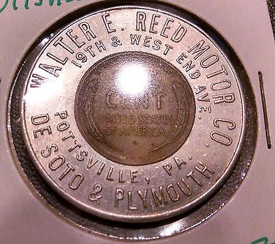 Encased Penny ~ Pottsville, Pa. ~ Walter Reed Motor Co ~ Desoto & Plymouth Cars