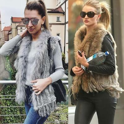 100% Real Genuine Rabbit Fur Vest Gilet Waistcoat Raccoon Fur Collar Women Gift