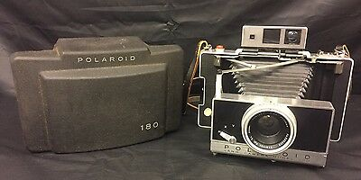 Vtg Polaroid 180 Land Camera Tominon 1:4.5 Lens w/ Case and Strap And Cold Clip