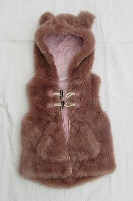 Next Girls Gilet Hooded Faux Fur Bodywarmer size 3-4 Y