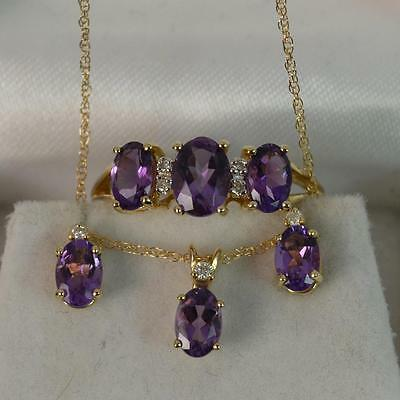 3.25ct Amethyst & Diamond 9ct Gold RING, PENDANT & EARRINGS Set f1610