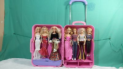 Barbie Doll Take-A-Long Carry Case for Clothes/Barbies Storage Mattel +  7 Dolls