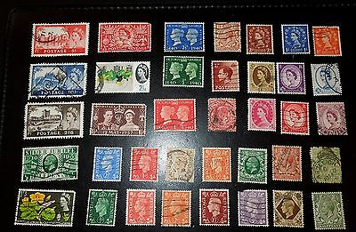 Great Britain Stamps 1936-1962  $1/2d - $5d Cancelled Lot of 38 GBR Used Variety