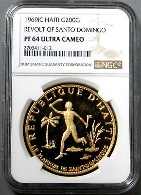 1969 Gold Haiti 200 Gourdes Ngc Proof 64 Uc Revolt Of Santo Domingo 140 Minted