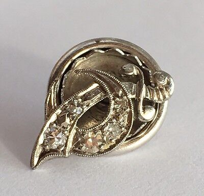 Vintage Solid PLATINUM & 5 Diamond SHRINER Lapel Pin MASONIC Sword Tie Tack