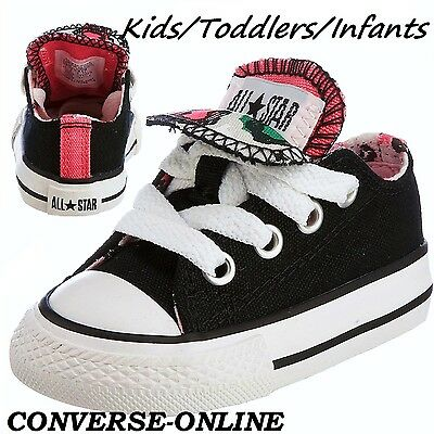 Girl Kid CONVERSE All Star BLACK PINK ANIMAL DOUBLE TONGUE Trainers SIZE 22 UK 6