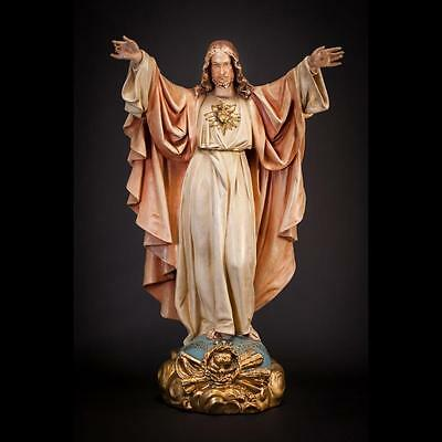 "27"" Large Antique Plaster Statue Sacred Heart of Jesus Christ Our Lord Figurine"