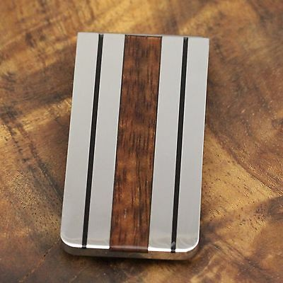Stainless Steel Inlaid Koa Wood  with 2 Black Border Money Clip