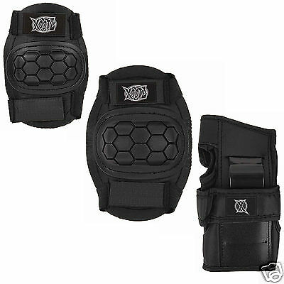 Xootz - Junior Child 6pcs Skate Safety Pad Set Knee Elbow Wrist - BLACK MEDIUM