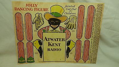 """2 Atwater Kent """"Jolly Dancing Figure""""Cardboard Cut-Out  Toy- High Quality Repro"""