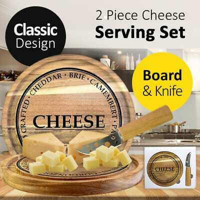 2 Piece Cheese Lover Serving Set w/Chopping Board & Knife Stylish Easy & Durable