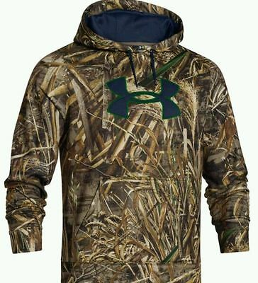 New Mens Under Armour Camo Hoodie Duck Hunting Camouflage Real Tree Max-5 NWT UA