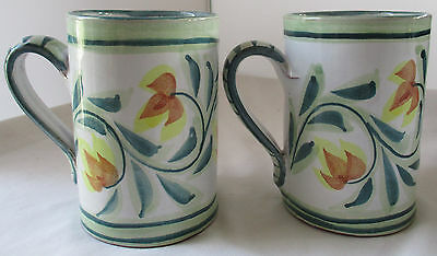 Pair Porches Pottery Portugal Hand Painted Large Coffee Mugs With Yellow Flowers