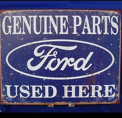 FORD GENUINE PARTS USED HERE Metal Tin Vintage Car Sign LOGO Garage Decor Wall