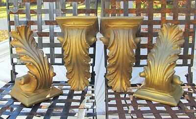 4 Large Shabby Vintage French Gold Plaster Chalkware Corbels Wall Sconce Shelf