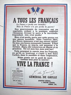 France Patriotic Poster WWII World War II De Gaulle reproduction