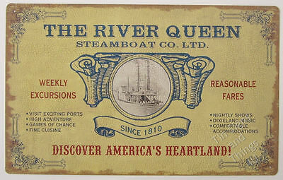 River Queen Steamboat TIN SIGN vtg advertising art poster metal wall decor OHW