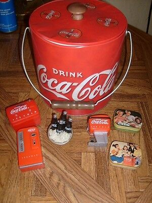 Lot of 4 Vintage Coca Cola Coke Magnets, metal ICE Bucket & 2 tin pill boxes