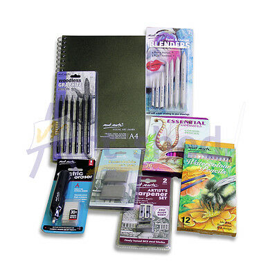 Mont Marte Graphite & Drawing Essential Kit - 67 pieces - Hand Picked By Artists