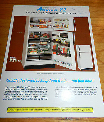 AMANA Refrigerator 2 pg Brochure -  Model TC-22G Specifications, Features- 1984