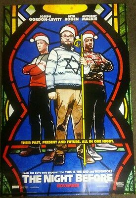 The Night Before 27x40 Double Sided Movie Theater Poster Seth Rogen