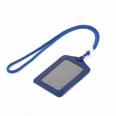 Faux Leather Vertical Style ID Name Card Tag Badge Holder Carrier Blue w Lanyard