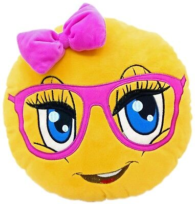 Cute Girl Emoticon Emoji Pillow Emoticon Cushion Soft Smiley 32cm NEW