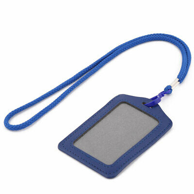Faux Leather Vertical Style ID Card Tag Badge Holder Carrier Dark Blue w Lanyard