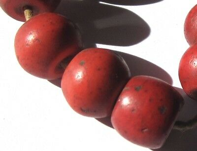 "8 Rare Amazing Old ""faux"" Red Coral Tibetan Antique Glass Beads"