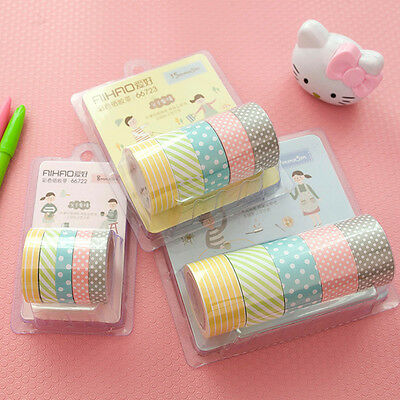 5x Colorful 3 Sizes DIY Paper Sticky Adhesive Sticker Decorative Washi Tape Gift