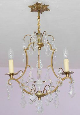 Superb Vintage French 3 Light Birdcage Chandelier with Crystal Poignard and Drop