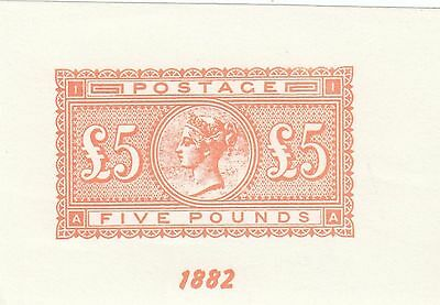 C 11922/ Gb Uk Vignette Nachdruck 5 Pound 1882 Reprint