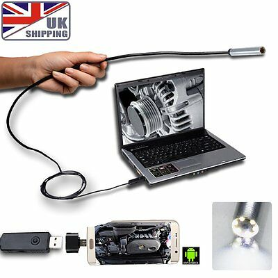 Hot USB OTG Endoscope Borescope Inspection Camera LED 7mm 2m Supporting Cable