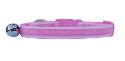 "Pink and white edge  stitch velvet "" safety kitten cat collar 3 sizes"