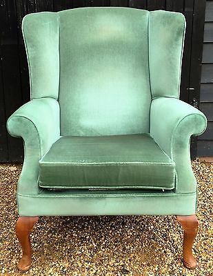 Vintage Wing Back Fireside Armchair In Green Velour / Wingback Chair