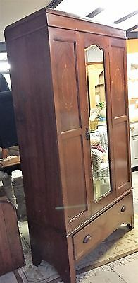 Early 20th Century Single Wardrobe / Hall Cupboard With Mirrored Door & Drawer