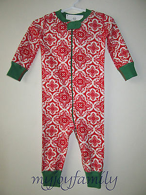 HANNA ANDERSSON Baby Organic Zip Sleeper Folk Lace Red 90 3T 3 NWT