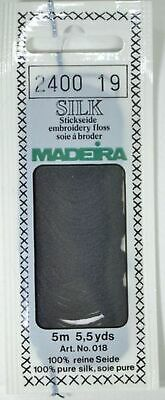 Madeira 100% PURE SILK Colour 2400 BLACK, 4-Strand Hand Embroidery Thread
