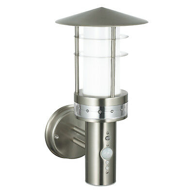 Saxby Pagoda 9.2W Stainless Steel Outdoor Garden Motion Sensor LED Wall Light