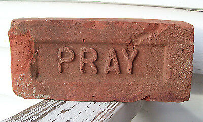 "ANTIQUE ""PRAY"" BRICK  New England GREENFIELD MA  Brickyard (Red Clay) ~LOT C~"